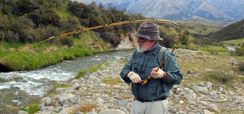 David Anderson testing his home crafted Bamboo Rod