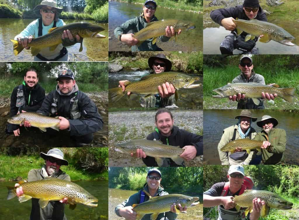 New Zealand anglers with their trouts.